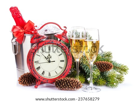 Champagne, christmas clock and fir tree. Isolated on white background - stock photo