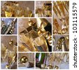 Champagne collage - A collage of photos about champagne party collage - stock photo