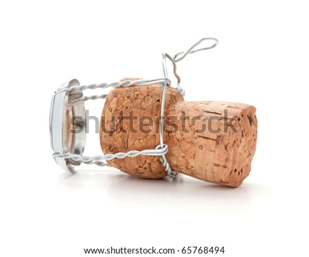 Champagne cork. Isolated on white background - stock photo