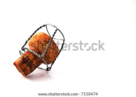 Champagne cork isolated on white with copy space - stock photo