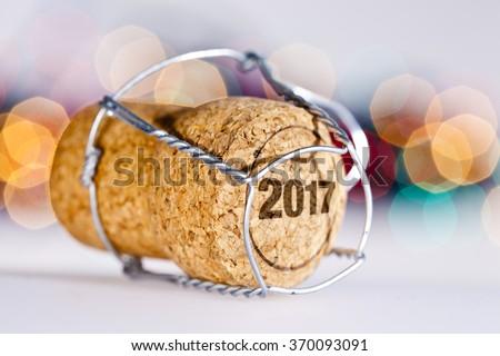 Champagne cork / New year 2017 - stock photo
