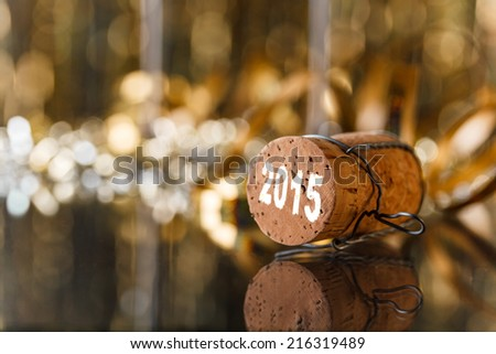 Champagne cork new year's 2015 - stock photo