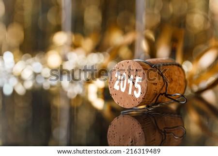 Champagne cork new year's 2015 - stock photo