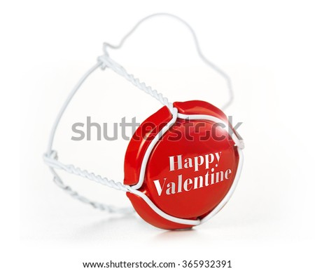 champagne cork of valentine's day isolated on white - stock photo