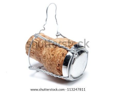 Champagne cork on a white background.