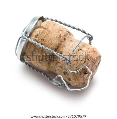 Champagne cork on white background - stock photo