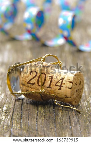 Champagne cork opened for new year's party 2014 - stock photo