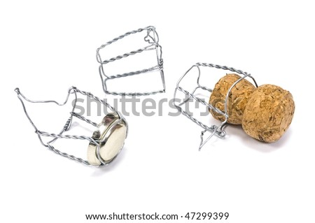 Champagne cork with metal wires