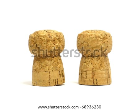 champagne corks on a white background - stock photo