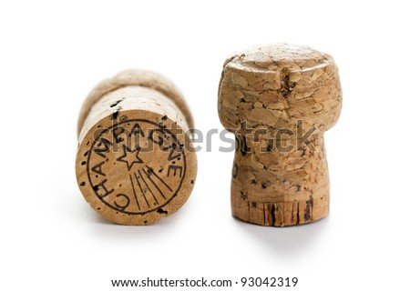 champagne corks on a white background