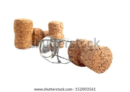 Champagne corks on white background  - stock photo