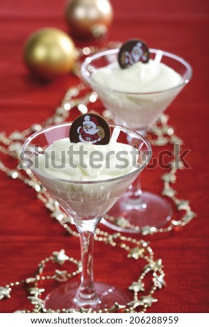Champagne cream with chocolate candy - stock photo