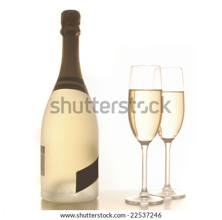 champagne drinks ready for new year's eve party or celebration, on white background - stock photo