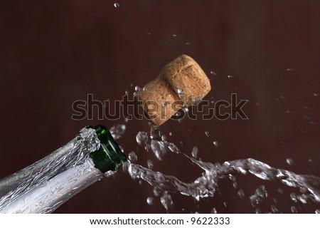 Champagne eruption - stock photo