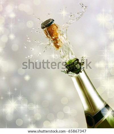 Champagne explosion.Celebrating concept - stock photo