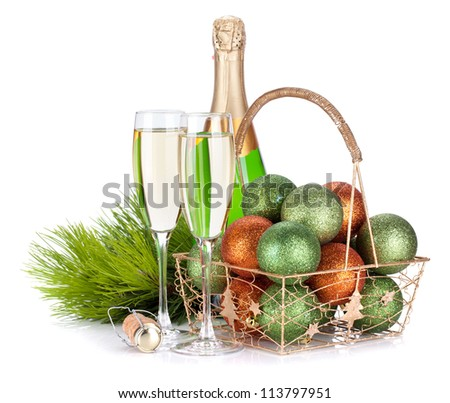 Champagne, firtree and christmas decor. Isolated on white background - stock photo