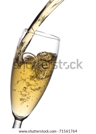 Champagne flow in a glass