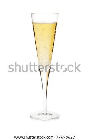 Champagne flute glass. Isolated on white background - stock photo