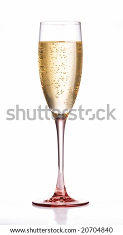 Champagne flute glass with pink crystal base - stock photo