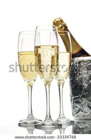 Champagne flutes and ice bucket
