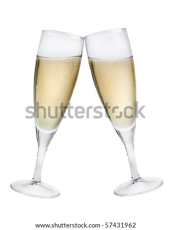 Champagne flutes making a toast isolated on white background