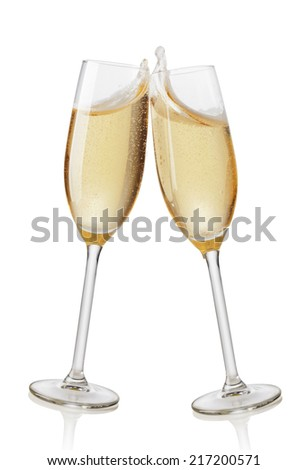 Champagne flutes toasting. Isolated on white background