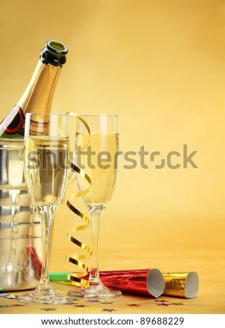 Champagne for New Year's Eve Celebration. - stock photo