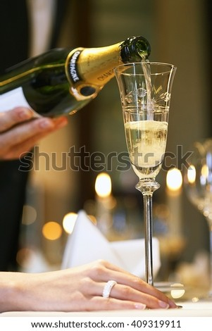 Champagne glass at luxurious restaurant