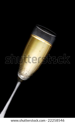 champagne glass full of bubbly isolated on black