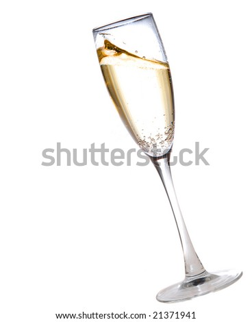 champagne glass full of bubbly isolated on white