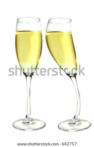 Champagne glass kissing another
