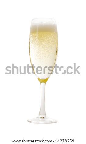 Champagne glass on white ground - stock photo