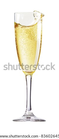 Champagne Glass with abstract splash. Isolated on white