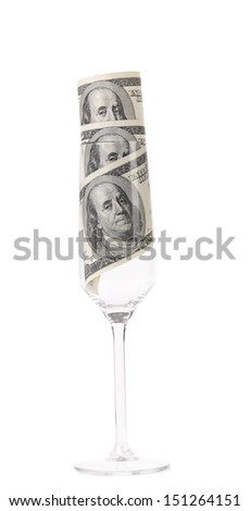 Champagne glass with money.