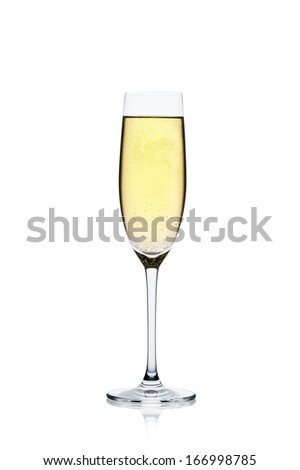 Champagne glass with reflection isolated on a white background