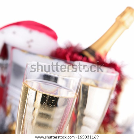champagne glasses and decoration