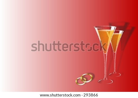 Champagne glasses and wedding bands over red background. - stock photo
