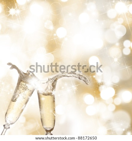Champagne glasses. Celebration theme.