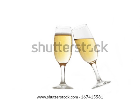 Champagne glasses on white
