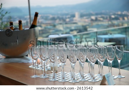 Champagne glasses ready for party - stock photo