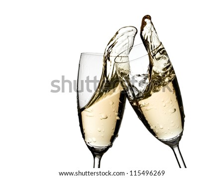 Champagne glasses up - stock photo