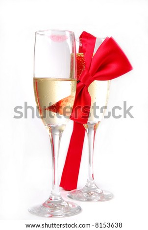 Champagne Glasses with Bow Tie and Lipstick Smudge