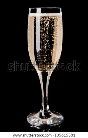 Champagne in a glass - stock photo