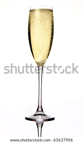 Champagne in a glass. Isolated on white background - stock photo