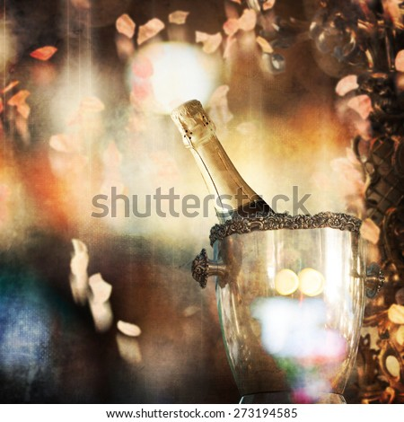 Champagne in bucket  - stock photo