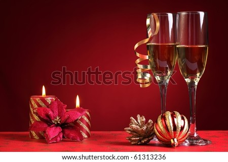 Champagne in Christmas setting. - stock photo