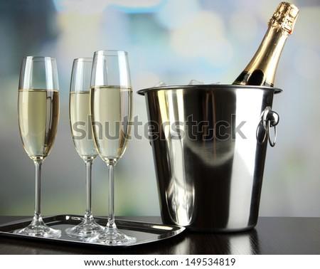 Champagne in glasses in restaurant - stock photo