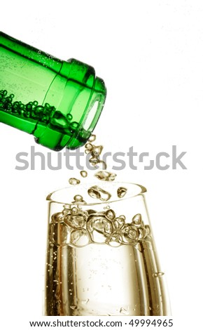 champagne in the glass - stock photo