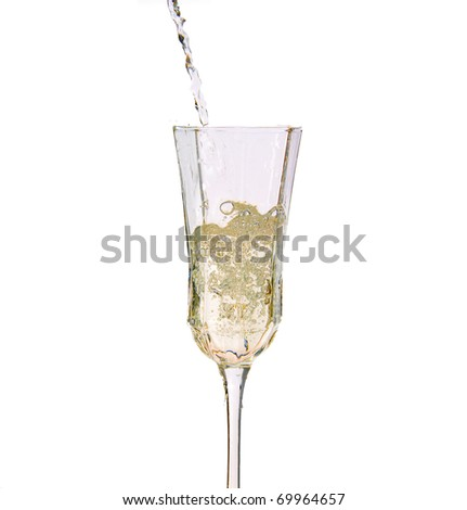Champagne isolated on white background - stock photo