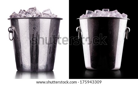champagne Metal ice bucket on a black - stock photo